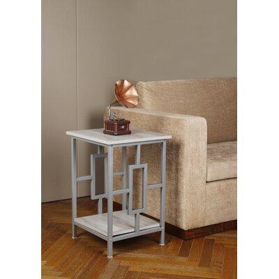 Baksh Side End Table Table Top Color: Oak, Table Base Color: Gray