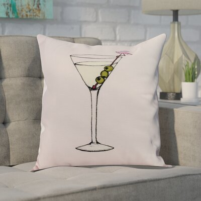Martini Glass Flamingo Geometric Print Indoor/Outdoor Throw Pillow Color: Pink, Size: 18 x 18