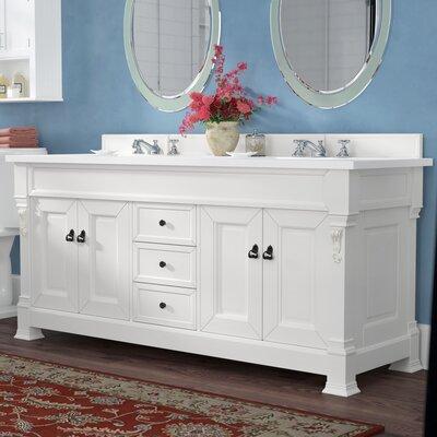 Bedrock 72 Double Antique Black Bathroom Vanity Set Base Finish: Cottage White, Top Finish: Snow White Quartz, Top Thickness: 3cm