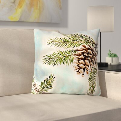 Pinecones and Sky by Christen Treat Throw Pillow Size: 16 H x 16 W x 3 D