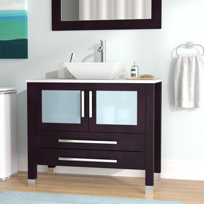 Meserve Solid Wood and Porcelain Vessel 36 Single Bathroom Vanity Set with Mirror