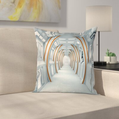 Outer Space Spaceship Hallway Cushion Pillow Cover Size: 16 x 16