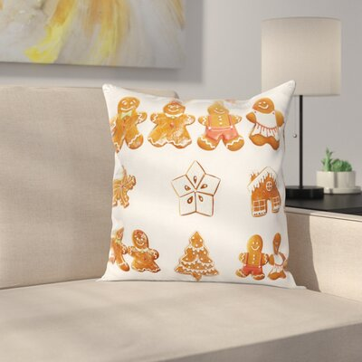 Gingerbread Man Cute House Tree Square Pillow Cover Size: 24 x 24