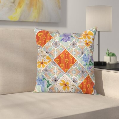 Floral Flower Feminine Summer Square Pillow Cover Size: 24 x 24