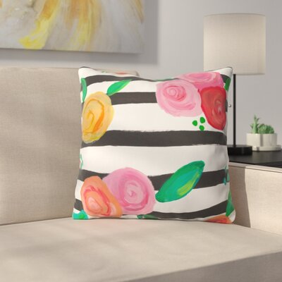 Natalie Baca Black Stripes and Blooms Throw Pillow Size: 16 x 16