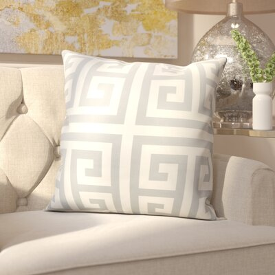 Gallia Geometric Faux Silk Outdoor Throw Pillow Color: Grey