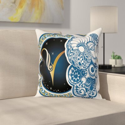 Zodiac Astrology Aries Square Pillow Cover Size: 16 x 16