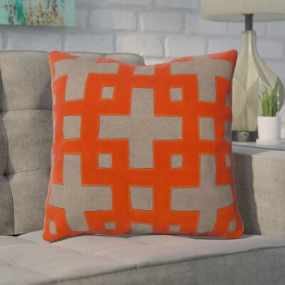 Bright Squares Cotton Throw Pillow Size: 22 H x 22 W x 4 D, Color: Stone / Poppy Red / Paprika / Brindle / Sienna, Filler: Down