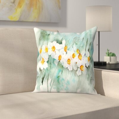 Narcissus in line Throw Pillow Size: 16 x 16