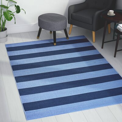 Deverick Stripe Blue/Navy Indoor/Outdoor Area Rug Rug Size: 5 x 73