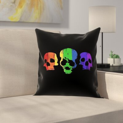 Rainbow Skulls Square Pillow Cover Size: 26 x 26