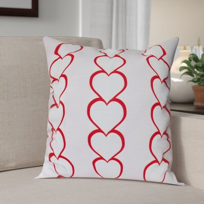 Valentines Day Heart Chain Throw Pillow Size: 20 H x 20 W, Color: Fuchsia