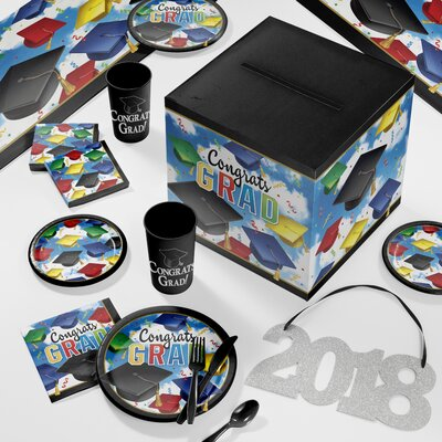 Graduation Celebration Deluxe Party Paper/Plastic Supplies Kit DTC2895E2B