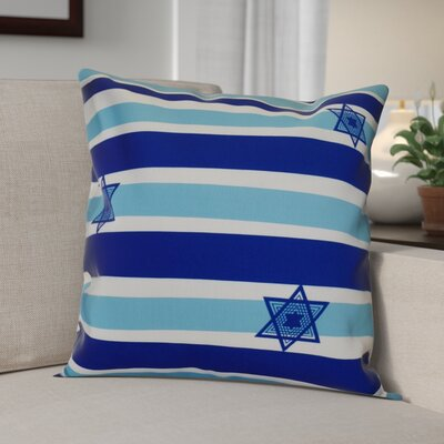 Hanukkah 2016 Decorative Holiday Striped Outdoor Throw Pillow Size: 18 H x 18 W x 2 D, Color: Light Blue