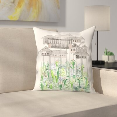 Cambodian Stilts Throw Pillow Size: 18 x 18