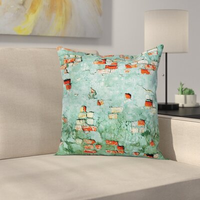 Teal Brick Wall Old Wrecked Square Pillow Cover Size: 18 x 18