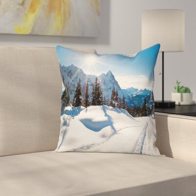 Nature Mountain Pine Trees Square Pillow Cover Size: 18