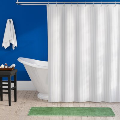 Darmstadt Damask Stripe Shower Curtain Liner Color: White