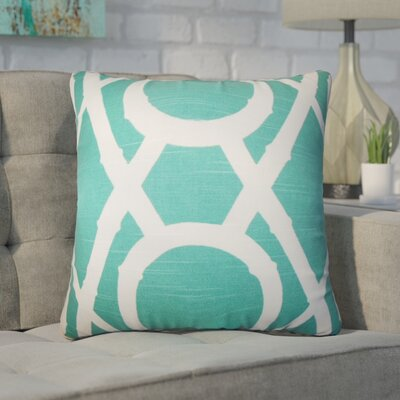 Wolfgang Geometric Cotton Throw Pillow Color: Blue