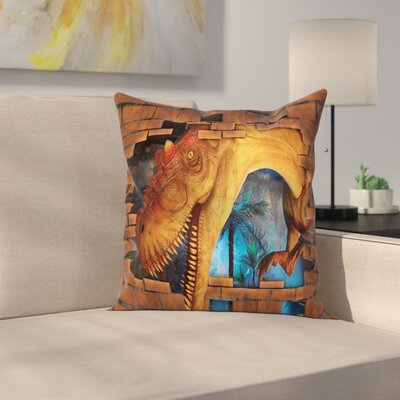 Dinosaur Dino Breaks Brick Wall Square Cushion Pillow Cover Size: 24 x 24