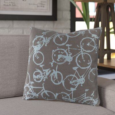 Ellen Bicycle Print Throw Pillow Size: 18 H x 18 W x 4 D, Color: Sky Blue / Shadow Gray, Filler: Down
