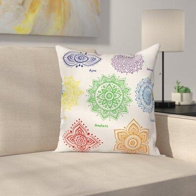 Mandala Chakra Symbol Square Pillow Cover Size: 18 x 18