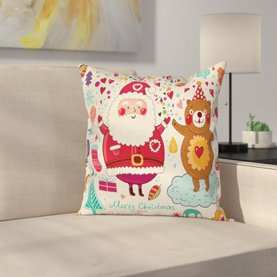 Christmas Santa and Teddy Bear Square Pillow Cover Size: 18 x 18