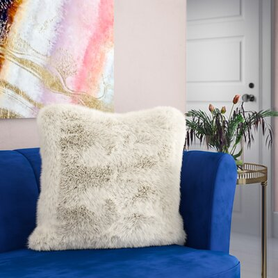 Loraine Faux Fur Throw Pillow Color: Ivory