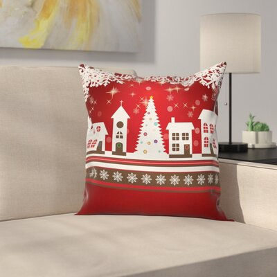Christmas Winter Theme Tree Square Pillow Cover Size: 24 x 24