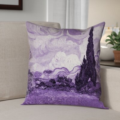 Lapine Wheatfield with Cypresses Throw Pillow Color: Purple, Size: 16 x 16