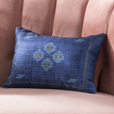 Keana Lumbar Pillow Color: Indigo/ Blue/ Yellow