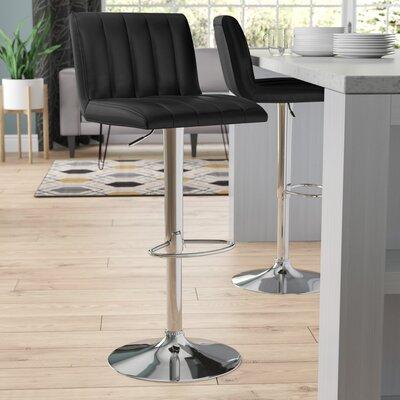 Alandra Adjustable Height Swivel Bar Stool Upholstery: Black
