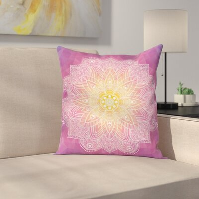 Asian Mandala Floral Art Square Pillow Cover Size: 24