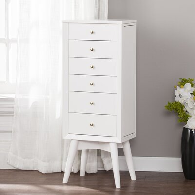 Casillas Free Standing Jewelry Armoire with Mirror Color: White