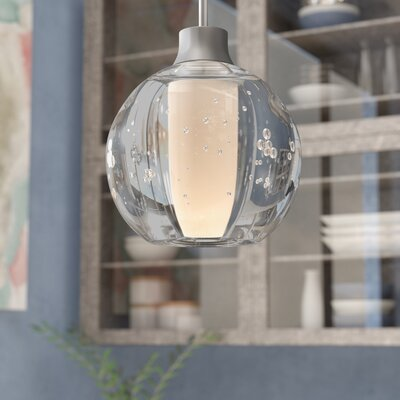 Dayna 1-Light Brass/Aluminum Globe Pendant Finish: Satin Nickel, Shade Color: Bubble, Bulb Type: Halogen