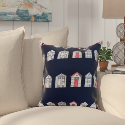 Bryson Beach Hut Throw Pillow Color: Navy, Size: 16 x 16