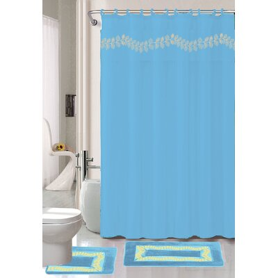Prevatte Non-Slip Safety Water Absorbent Soft Shower Curtain Set Color: Light Blue