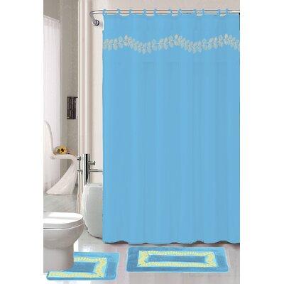 Prevatte Non-Slip Safety Water Absorbent Soft Shower Curtain Set Color: Light Blue