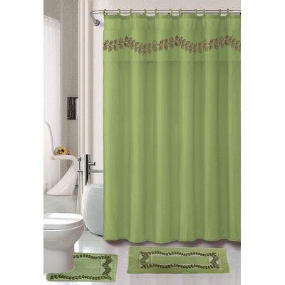 Prevatte Non-Slip Safety Water Absorbent Soft Shower Curtain Set Color: Sage