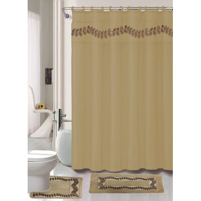 Prevatte Non-Slip Safety Water Absorbent Soft Shower Curtain Set Color: Taupe