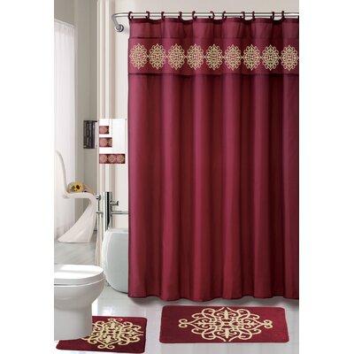 Preusser Non-Slip Safety Water Absorbent Soft Shower Curtain Set Color: Burgundy
