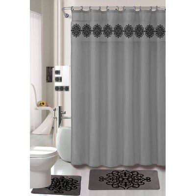 Preusser Non-Slip Safety Water Absorbent Soft Shower Curtain Set Color: Gray