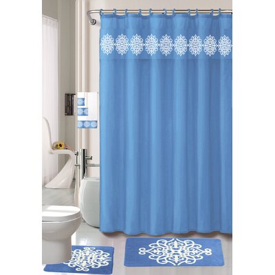 Preusser Non-Slip Safety Water Absorbent Soft Shower Curtain Set Color: Light Blue