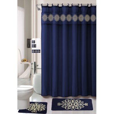Preusser Non-Slip Safety Water Absorbent Soft Shower Curtain Set Color: Navy Blue