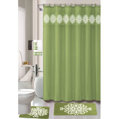 Preusser Non-Slip Safety Water Absorbent Soft Shower Curtain Set Color: Sage