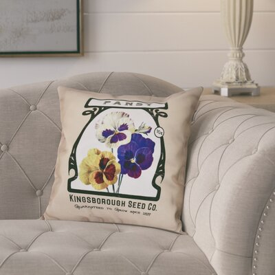 Pilla Pansy Floral Print Throw Pillow Size: 26 H x 26 W, Color: Taupe