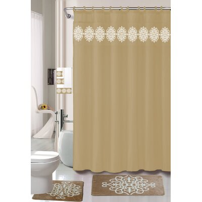 Preusser Non-Slip Safety Water Absorbent Soft Shower Curtain Set Color: Taupe