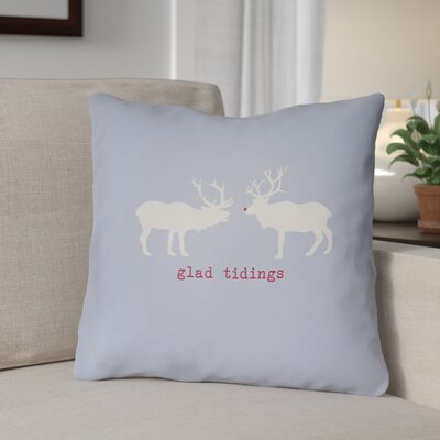Glad Tidings Indoor/Outdoor Throw Pillow Size: 18 H x 18 W x 4 D, Color: Blue / White / Red
