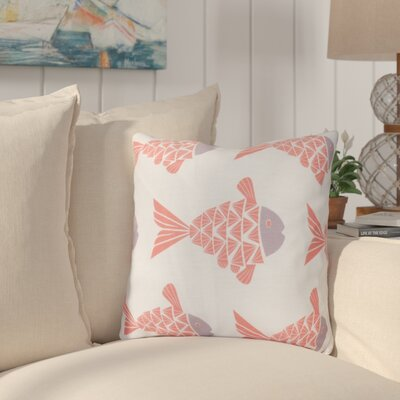 Grand Ridge Fish Tales Coastal Throw Pillow Size: 16 H x 16 W, Color: Coral