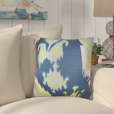 Merganser Ikat Cotton Throw Pillow Color: Navy/Yellow